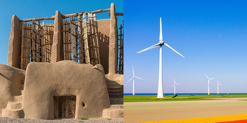 The vertical-axis Nashtifan windmills in Northern Iran, dating back 1,000 years to ancient Persia, are still used for milling grain into flour. Most modern windmills have horizontal axes.