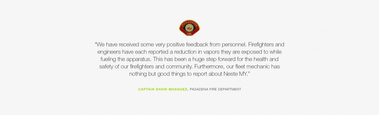 We have received some very positive feedback from personnel. Firefighters and engineers have each reported a reduction in vapors they are exposed to while fueling the apparatus