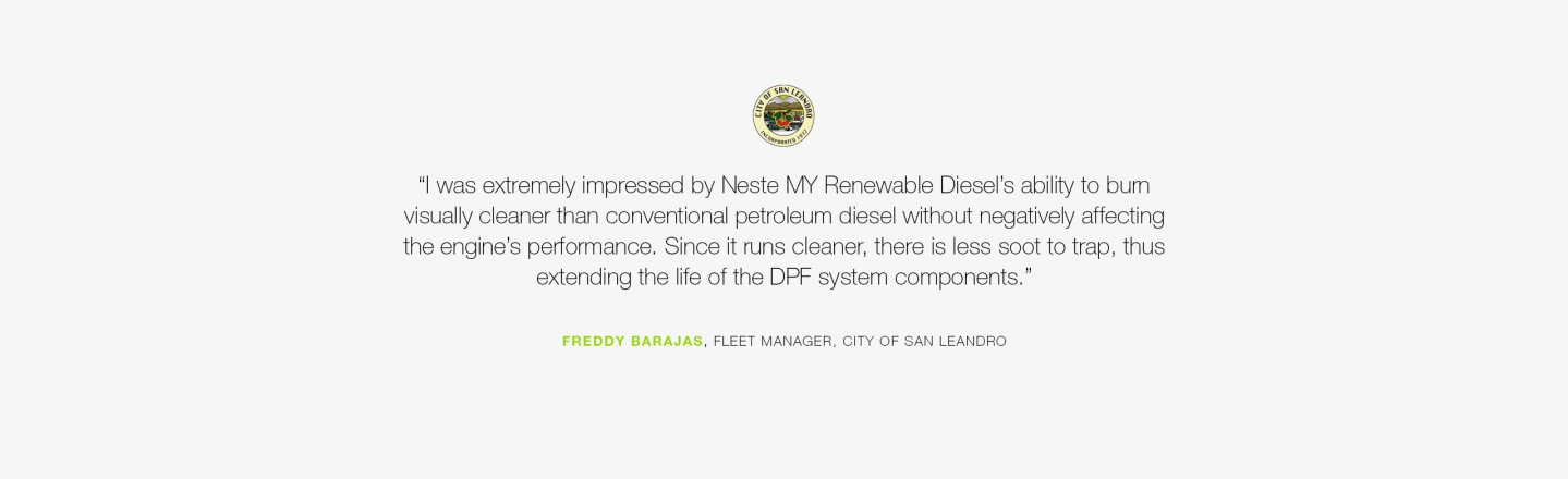 I was extremely impressed by Neste MY Renewable Diesel's ability to burn visually cleaner than conventional petroleum diesel without negatively affecting the engine's performance.