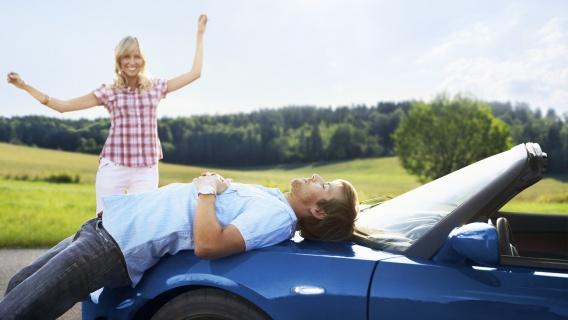 woman, man and car